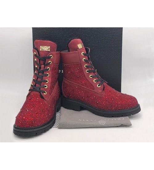 Женские ботинки Philipp Plein (Филипп Плейн) зимние кожаные на шнурках Bordo