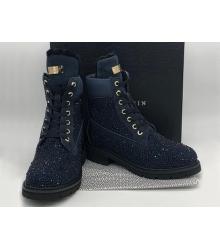 Женские ботинки Philipp Plein (Филипп Плейн) зимние кожаные на шнурках Dark Blue