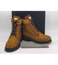 Женские ботинки Philipp Plein (Филипп Плейн) зимние кожаные на шнурках Gold