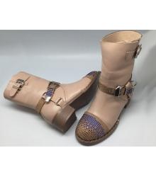 Женские ботинки Philipp Plein (Филипп Плейн) зимние кожаные со стразами Beige
