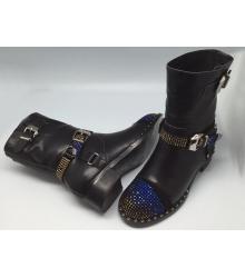 Женские ботинки Philipp Plein (Филипп Плейн) зимние кожаные со стразами Black