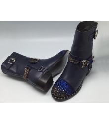 Женские ботинки Philipp Plein (Филипп Плейн) зимние кожаные со стразами Blue