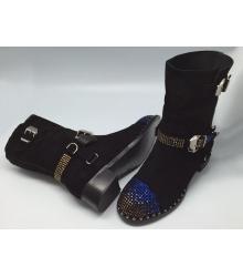 Женские ботинки Philipp Plein (Филипп Плейн) зимние замшевые со стразами Black
