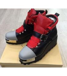 Ботинки женские Prada (Прада) Black\Red
