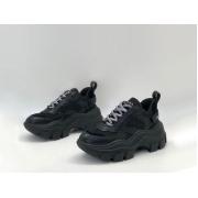 Женские кроссовки Prada (Прада) Block кожаные на шнуровке Black