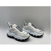 Женские кроссовки Prada (Прада) Block кожаные на шнуровке на толстой подошве White