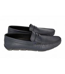 Мокасины мужские Prada (Прада) Blue Leather
