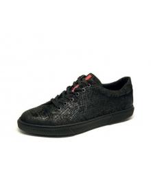 Мужские кеды Prada (Прада) кожа текстурная Sport Black