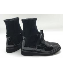 Женские ботинки Prada (Прада) кожаные Black