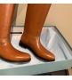 Женские сапоги Prada (Прада) кожаные дополняет стильный ремешок с пряжкой Brown