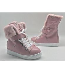 Зимние женские кеды Prada (Прада) кожаные на меху Pink