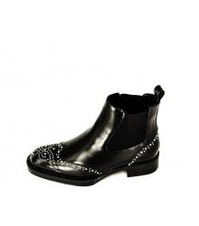Сапоги женские Prada (Прада) кожаные на низком каблуке Black
