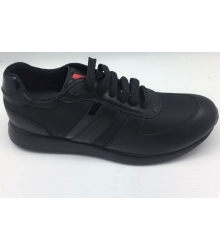 Кроссовки мужские Prada (Прада) осенние кожаные Sport Black