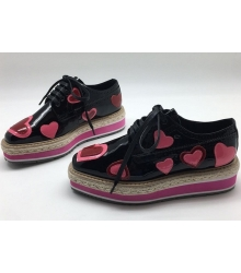 Ботинки женские Prada (Прада) лаковые с сердцами Black