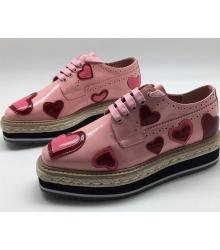 Ботинки женские Prada (Прада) лаковые с сердцами Pink