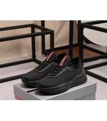 Кроссовки мужские Prada (Прада) летние текстиль на шнуровке Black