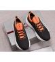 Кроссовки мужские Prada (Прада) летние текстиль на шнуровке Black/Orange