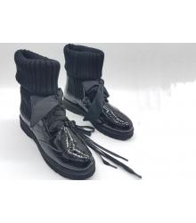 Ботинки женские Prada (Прада) натуральная лаковая кожа Black