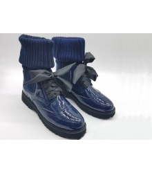Ботинки женские Prada (Прада) натуральная лаковая кожа Blue