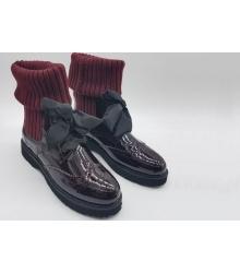 Ботинки женские Prada (Прада) натуральная лаковая кожа Bordo