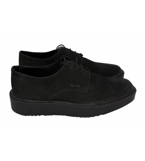 Ботинки Prada (Прада) Oxford Black Suede