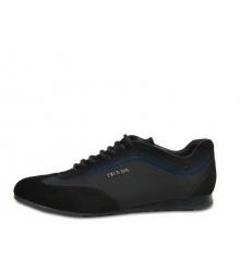 Кроссовки мужские Prada (Прада) Sport комбинированные на шнурках Black