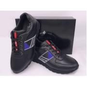 Мужские кроссовки Prada (Прада) Sport кожаные на шнурках Black