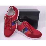 Мужские кроссовки Prada (Прада) Sport кожаные на шнурках Red