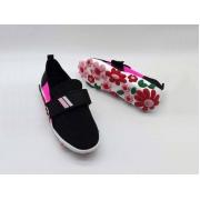 Женские кроссовки Prada (Прада) текстиль на липучке с цветами Black