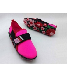Женские кроссовки Prada (Прада) текстиль на липучке с цветами Pink