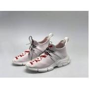 Женские кроссовки Prada (Прада) текстиль на шнуровке принт лого White