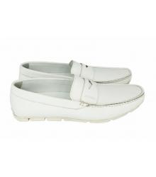 Мокасины мужские Prada (Прада) White Leather