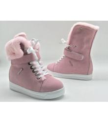 Зимние женские кеды Prada (Прада) замшевые на меху Pink