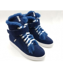 Женские зимние кеды Prada (Прада) замшевые с мехом Blue