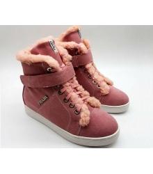 Женские зимние кеды Prada (Прада) замшевые с мехом Pink