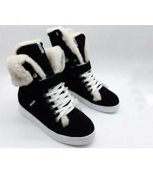 Женские кеды Prada (Прада) замшевые зимние с мехом Black
