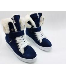Женские кеды Prada (Прада) замшевые зимние с мехом Dark Blue