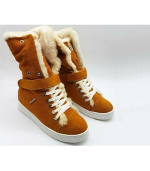 Женские кеды Prada (Прада) замшевые зимние с мехом Light Brown