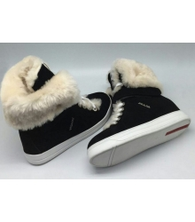 Женские кеды Prada (Прада) зимние с мехом Black