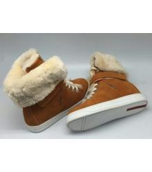 Женские кеды Prada (Прада) зимние с мехом Brown