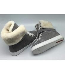 Женские кеды Prada (Прада) зимние с мехом Grey