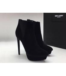 Женские ботильоны Yves Saint Laurent (Ив Сен Лоран) бархат на высоком каблуке шпилька Black
