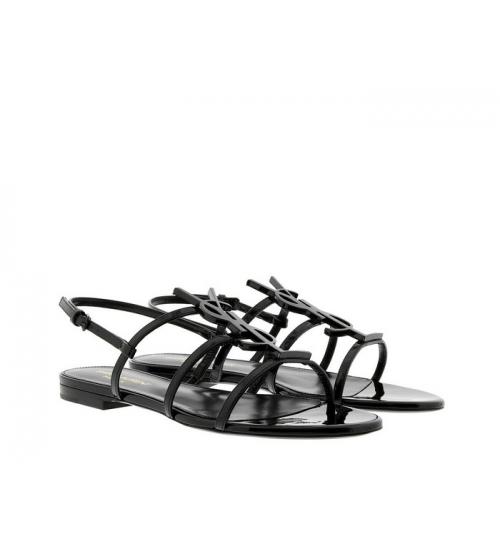 Женские сандалии Yves Saint Laurent (Ив Сен Лоран) Cassandra кожаные на низком каблуке с логотипом Black