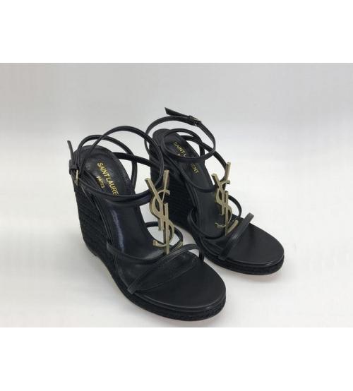 Женские босоножки Yves Saint Laurent (Ив Сен Лоран) Espadrilles кожаные высота каблука 11.5 см Black