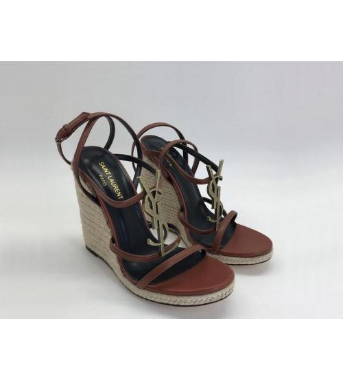Женские босоножки Yves Saint Laurent (Ив Сен Лоран) Espadrilles кожаные высота каблука 11.5 см Brown