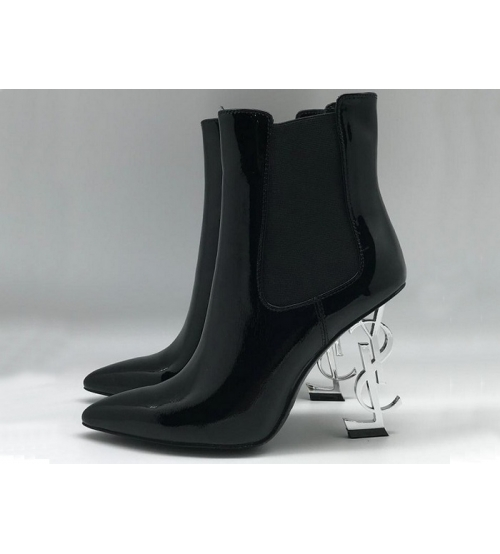 Женские ботильоны Yves Saint Laurent (Ив Сен Лоран) кожаные с логотипом на каблуке Black/White