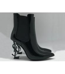Женские ботильоны Yves Saint Laurent (Ив Сен Лоран) кожаные с логотипом на каблуке Black