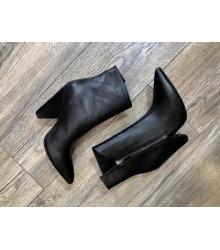 Ботильоны женские Yves Saint Laurent (Ив Сен Лоран) кожаные на молнии кошеный каблук Black