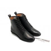 Женские ботинки Yves Saint Laurent (Ив Сен Лоран) кожаные на шнурках Black