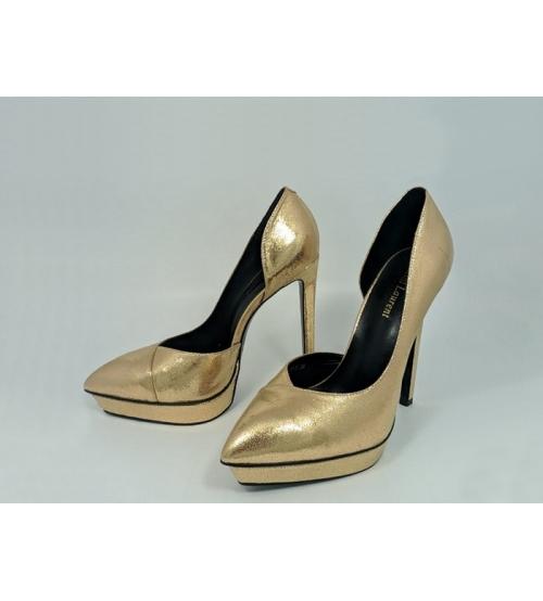 Женские туфли Yves Saint Laurent (Ив Сен Лоран) кожаные на высоком каблука Gold